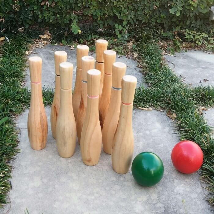 Wooden Bowling Pins and Balls